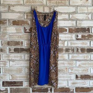 Petticoat Alley Leopard Colorblock Sleeveless Tank Dress Sz M
